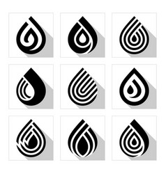 water drop symbols set black signs for logo vector image