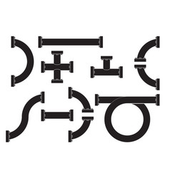 water pipes with flange black icon vector image