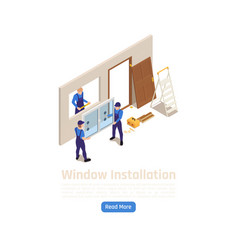 Windows installation isometric composition vector