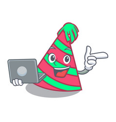 With laptop party hat character cartoon vector