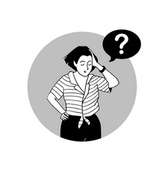Woman thinking problem portrait of smart girl vector