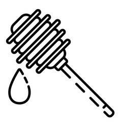 wood honey spoon icon outline style vector image