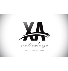 Xa x a letter logo design with swoosh and black vector