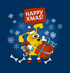 Yellow dog with xmas present and bone in the mouth vector
