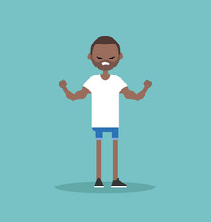 young black guy demonstrating his strength vector image