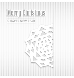 Christmas greeting card with paper snowflake vector image vector image