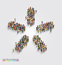 Large group of people in modern star shape vector
