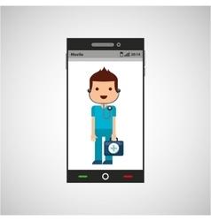 Medical doctor mobile phone app vector