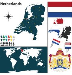 Netherlands map world vector image