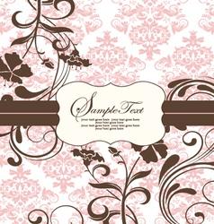 pink vintage damask invitation card vector image vector image
