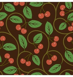 seamless pattern with red cherries vector image vector image