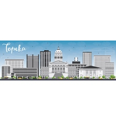 Topeka Skyline with Gray Buildings vector image vector image