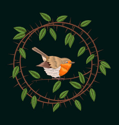 embroidery blackthorn branches and robin bird vector image vector image
