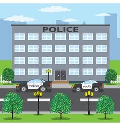 Police cars near police building vector