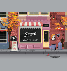 small shop on the old city street autumn vector image vector image