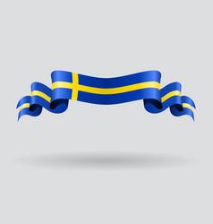 Swedish wavy flag vector image vector image