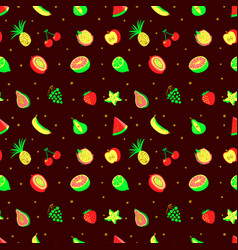 tropical exotic fruits seamless pattern cute vector image vector image