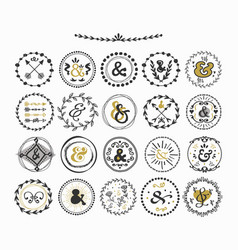Black and golden hand drawn circle ampersand set vector