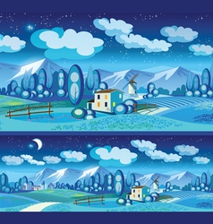 countryside at night vector image vector image