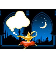 magic lamp and arabic city skyline vector image vector image