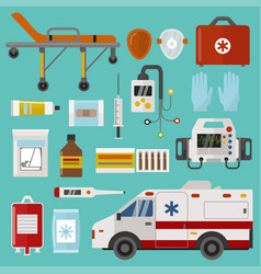 medical icons set care ambulance emergency vector image vector image