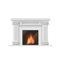 realistic detailed 3d classic fireplace vector image