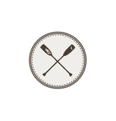 Crossed paddles icon patch and sticker vintage vector