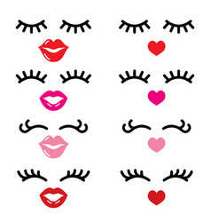 eyelashes and lips icons pretty girl vector image vector image
