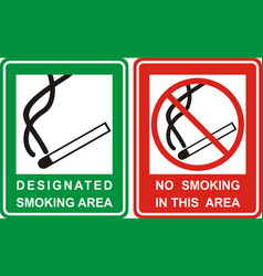 no smoking and smoking area sign set vector image