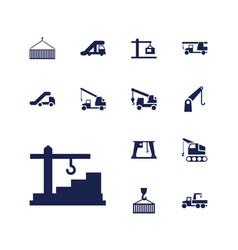 13 crane icons vector