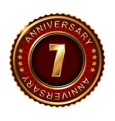 7 years anniversary golden label vector image