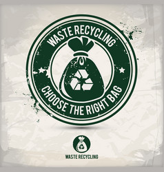 alternative waste recycling stamp vector image