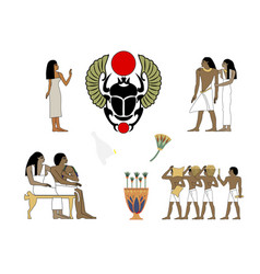 Ancient egypt set of group of people vector