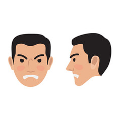 Angry man face from two sides flat icon vector