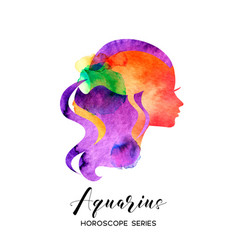 Aquarius zodiac sign beautiful girl silhouette vector