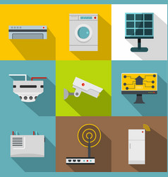 Automatic electronic devices icon set flat style vector
