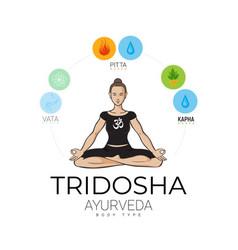 Ayurvedic doshas in balance yogi woman vector