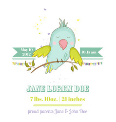 baby shower card cute parrot boy on a brunch vector image