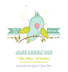 Bashower card cute parrot boy on a brunch vector