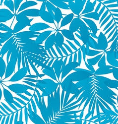 Blue tropical leaves seamless pattern vector image