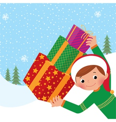 Boy with christmas gift vector