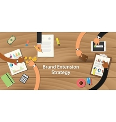 Brand extension strategy with team vector