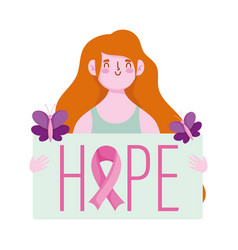 breast cancer awareness month woman hope vector image