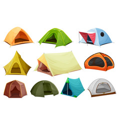 camping tent isolated icons tourist equipment vector image