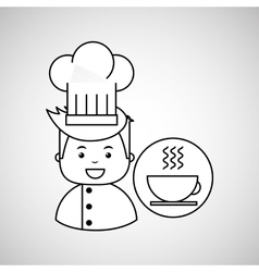 Cartoon chef gourmet hot cup coffee vector
