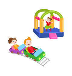 Children in amusement park set vector