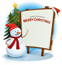 christmas snowman and wood sign background vector image