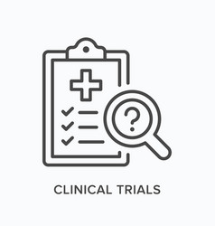Clinical trials flat line icon outline vector