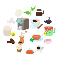 coffee and tea icons set cartoon style vector image