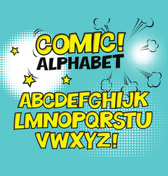 Comic retro yellow alphabet halftone background vector